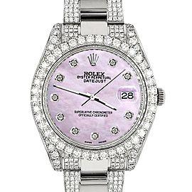 Rolex Datejust II 41mm Diamond Bezel/Lugs/Bracelet/Pink Pearl Diamond Dial Steel Watch 116300