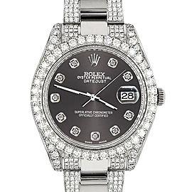 Rolex Datejust II 41mm Diamond Bezel/Lugs/Bracelet/Rhodium Grey Diamond Dial Steel Watch 116300