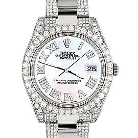Rolex Datejust II 41mm Diamond Bezel/Lugs/Bracelet/White Pearl Roman Dial Steel Watch 116300