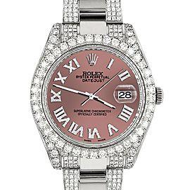 Rolex Datejust II 41mm Diamond Bezel/Lugs/Bracelet/Salmon Roman Dial Steel Watch 116300