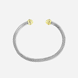 David Yurman Cable Classic Bracelet 18k Gold Pave Diamonds, 5mm