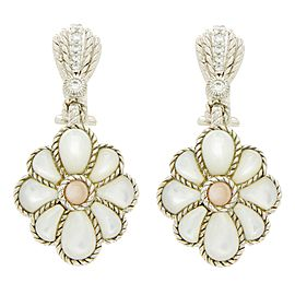 Judith Ripka 925 Sterling Silver Mother of Pearl & Crystal Earrings