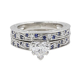 14K White Gold with 0.37ct Sapphire & Diamond Heart Vintage Wedding Ring Size 6