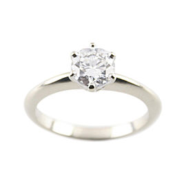14K White Gold and 0.71ct Diamond Solitaire Engagement Ring Size 3.5