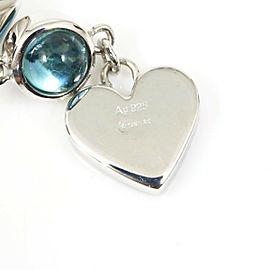 Gucci Sterling Silver Blue Topaz Heart Pierced Earrings CHAT-156