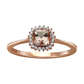 10K Rose Gold Morganite & Diamond Ring Size 7