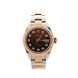 Rolex Oyster Perpetual Lady Datejust Automatic Watch Stainless Steel and Rose Gold with Diamond Markers 28