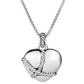 David Yurman Sterling Silver Cable Heart Pendant Necklace