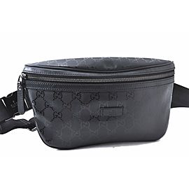GUCCI Waist Bum Bag GG PVC Leather Black