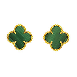 Van Cleef & Arpels Alhambra 18K Yellow Gold with Malachite Earrings