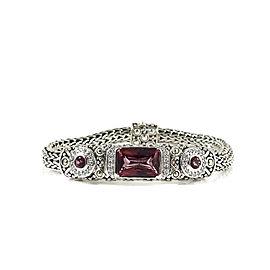 John Hardy Sterling Silver 18K Yellow Gold .27tcw Mystic Pink Topaz Diamond Batu Sari Bracelet