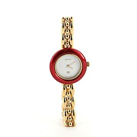 Gucci 1100 Interchangeable Bezel Quartz Watch Plated Metal with Plastic 26