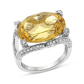 14k White Gold 12.55ct. Diamond & Oval Citrine Cocktail Ring Size 6.5
