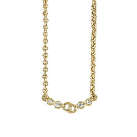 Christian Dior gold plated Rhinestone CD Logos Necklace