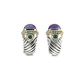 David Yurman 14K Yellow Gold, Sterling Silver Amethyst, Onyx Earrings