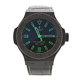 Hublot Big Bang All Black Green Automatic Watch Ceramic and Alligator with Rubber 48