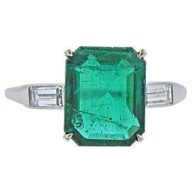 3.70 Carat Emerald Diamond Platinum Ring