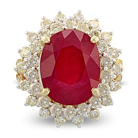 14K Yellow Gold Ruby 1.26ctw Diamond Ring Size 7.5