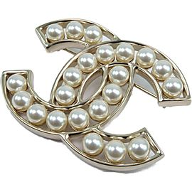 CHANEL Gold Plated/Fake pearl COCO Mark Brooch
