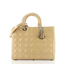 Christian Dior Lady Dior Bag Cannage Quilt Patent Large