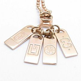 GUCCI 18K Pink Gold Diamond Logo Plate Pendant Necklace