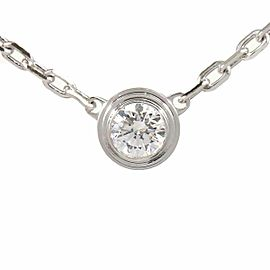 Cartier 18k White Gold Diamond Diamants Légers Pendant Necklace CHAT-104