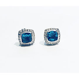 David Yurman Petite Albion Blue Topaz Diamond Earrings