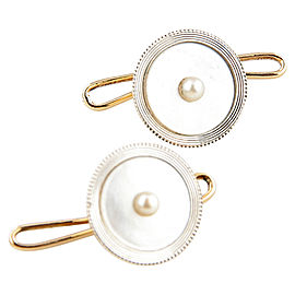 14K Yellow Gold & Platinum Mother of Pearl Cufflinks