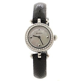 Gucci Diamantissima Quartz Watch Stainless Steel and Leather with Diamond Bezel 22