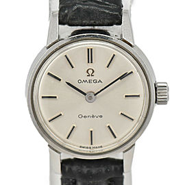 OMEGA Geneva Silver Dial SS/Leather Cal.620 Hand Winding Ladies Watch