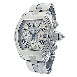 Cartier Roadster W62019X6 Stainless Steel Chronograph Silver Dial Automatic 43mm Men's Watch