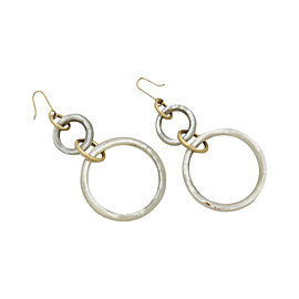 18K Yellow Gold Mother of Pearl Hoop Drop Earrings