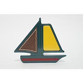 Prada Plastic with Leather Sail Boat Pin Brooch