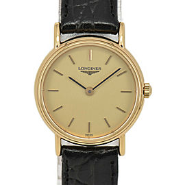LONGINES L4.137.2 Gold Dial GP/Leather Quartz Ladies Watch