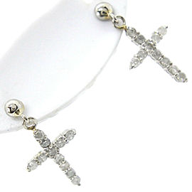Platinum and Diamond Cross Earrings