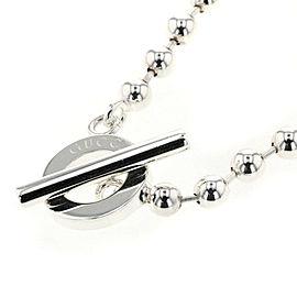 GUCCI 925 Silver Ball Chain Choker Necklace TBRK-185