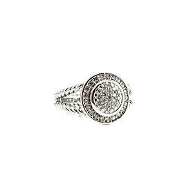 David Yurman Petite Cerise Sterling Silver Diamond Ring Size 7