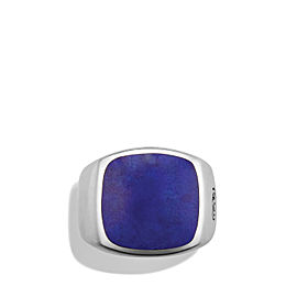 David Yurman Sterling Silver Lapis Lazuli Exotic Stone Signet Ring Size 10
