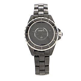 Chanel J12 Intense Black Quartz Watch Ceramic and Stainless Steel 29