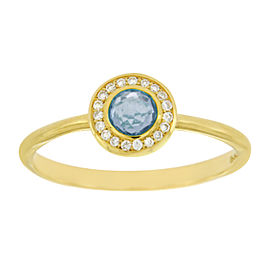 Ippolita Lollipop Mini 18K Yellow Gold Blue Topaz & Diamond Ring Size 7