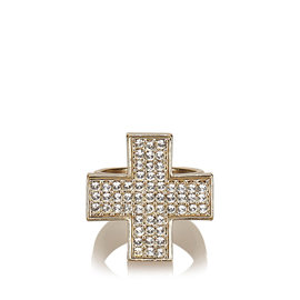 Chanel Gold Tone Hardware with Rhinestone Cross Ring Size 6.5