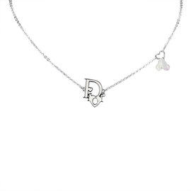 Dior Silver Tone Hardware Heart Necklace