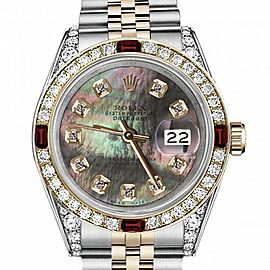 Men's Rolex 36mm Datejust Two Tone Jubilee Black MOP Mother Of Pearl Dial Diamond Accent RT Bezel + Lugs + Rubies 16233