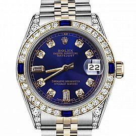Men's Rolex 36mm Datejust Two Tone Jubilee Blue Color Dial Baguette Diamond Accent Bezel + Lugs + Sapphire 16233