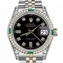 Rolex Quick-Set Datejust 36mm Black Dial Round & Baguette Numbers Emerald & Diamond Bezel 16233 Watch