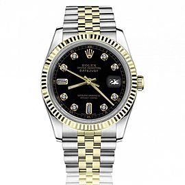 Rolex 36mm Datejust 16233 Black Dial with Baguettes 6&9 18k Yellow Gold & Stainless Steel Watch