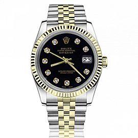 Rolex 36mm Datejust Black Diamond Dial 18k Yellow Gold Fluted Bezel Jubilee Two Tone Watch 16233