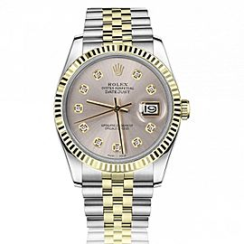 Rolex 36mm Datejust Two Tone Silver Color Diamond Dial 16233