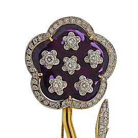 Gold Diamond Enamel Large Flower Brooch