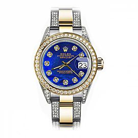 Rolex Blue Pearl 36mm Datejust Two Tone 18K Gold + SS + Side Diamonds Oyster Band + Bezel 16233